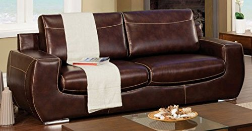 Furniture of America Tekir Dark Chocolate Bonded Leather Sofa