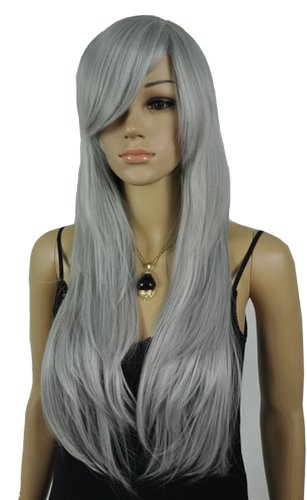 Qiyun Women's Long Straight Gray Silver Side Bangs Costume Full Hair Wig