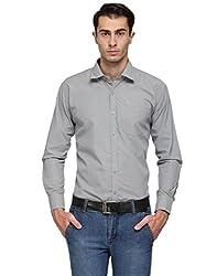 Ausy Grey Cotton Blend Mens's Shirt