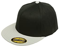 Original Blank Flexfit Flatbill Premium Fitted 210 Hat Cap Flex Fit Flat Bill Two Tone Small/Medium - Black/Grey