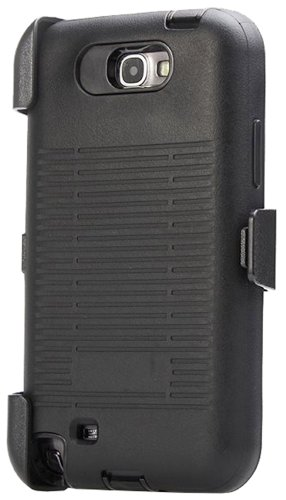 Huaxia Datacom Premium Heavy Duty Impact Armor Hybrid Hard Defender Case with Belt Clip Holster and Built-in Screen Protector for Samsung Galaxy Note 2 Note II N7100 - Black (Galaxy Note 2 Cases With Clip compare prices)
