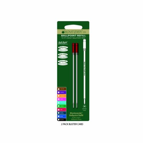 Monteverde: 2 Recharges Bille Soft Roll Rouge Compatible Cross, Pointe: M, Livrées en Blister.