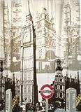 オシャレ イギリス ロンドン ビッグベン プリント シャワーカーテン
