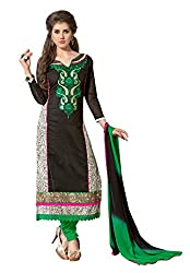 7 Colors Lifestyle Black Coloured Embroidered & Printed Chanderi Unstitched Dress Material(Free Size_Black)