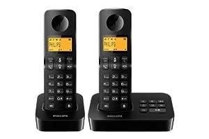 Philips D2052B/FR Téléphone fixe sans fil + 2 combinés avec répondeur + haut-parleur Noir