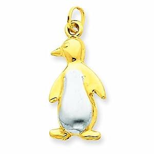 14K Rhodium Penguin Charm