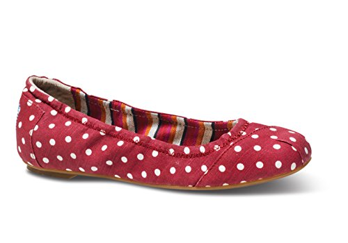TOMS Women's Linen Polka Dot Ballett Flat Shoes ,Red Polka Dot,6.5B(M)US