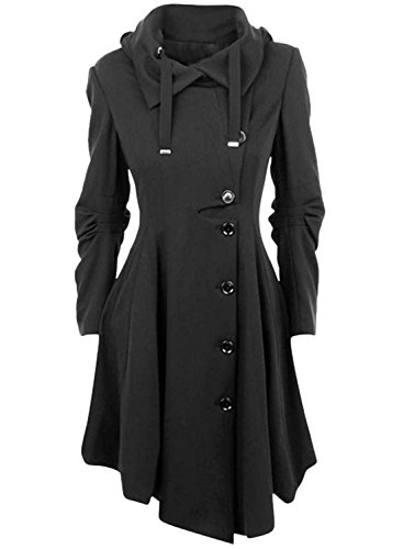 Azbro Modern Button Closure Asymmetrical Hem Black Coat