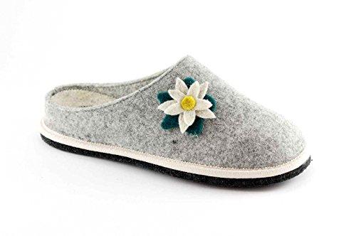 GRUNLAND GIES CI1237 grigio ciabatte donna suola feltro fiore 38