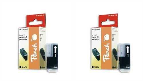 Peach C201 bk Doppelpack Tintenpatronen kompatibel zu Canon, Xerox, Apple BJI-201, schwarz