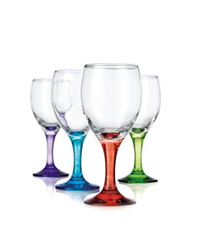 Home Essentials Set of 4 Carnival Color 10-Oz. White Wine Glasses