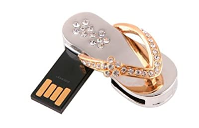 4GB (1x Gold) Slipper Memory Stick USB 2.0 Flash Drive. Presented In a Free Metal Gift Box. by NUT