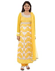 Seasons Shopping Mall Women's Georgette Chiffon Anarakali Suit (2562790, Yellow & White, L )
