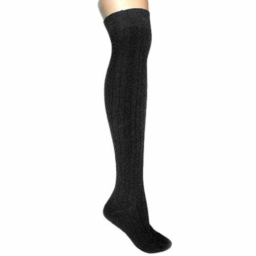 Luxury Divas Black Cable Knit Thigh High Over The Knee Socks
