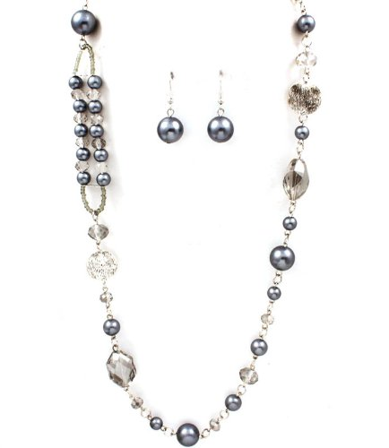 Sparkles Fashion Necklace - Grey Necklace and Earring SET / Long Necklace / Pearl / Bead / Acrylic Stones / Metal Casting / Texture / 36 Inch Long / Nickel and Lead Compliant / - Dangle Drop Statement Wedding Jewelry