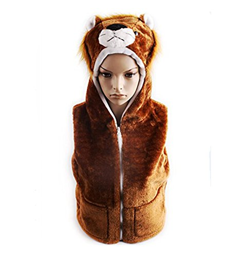 Dealzip Inc® Cute Animal Husky Warm Waistcoat Hooded Vest for Kids-Size:S
