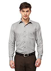 Copperline Plain Grey Slimfit Fullsleeves Cotton Formal Shirts