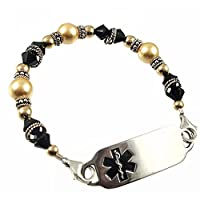 "Medical ID Alert Cashmere in Black Beaded Bracelet, FREE Engraving, Sizes 6.75"" to 9.5"" by Creative Medical ID"