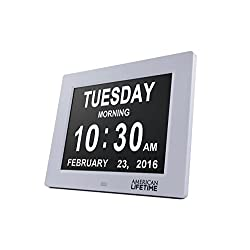 [Newest Version] Day Clock - Extra Large Impaired Vision Digital Clock with 4 Alarm Options & Battery Backup - Choose From 4 Different Colors!