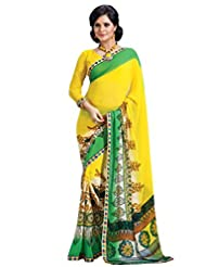 Riti Riwaz Georgette Lace Border Yellow Saree With Unstiched Blouse FLV324B