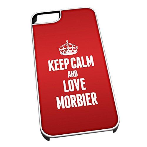 Weiß Schutzhülle für iPhone 4/4S 1291rot Keep Calm und Love morbier (Jura)