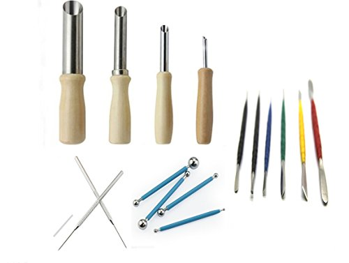 Aiber 16 Pcs Set Clay Modeling Tools Ball Stylus Carving Detail Tool Hole Cutters (Detail Cutter compare prices)