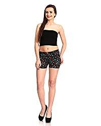 ganga Women's Denim Shorts (Red & Sky) (32)