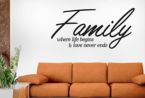 Family Where Life Begins And Love Never Ends Script Vinile Adesivi Murali Decals - Grande (Altezza 57cm x Larghezza 117cm) Nero