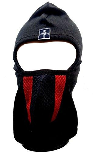 Dhoom3 Full BlkRedBlk Lines Bike Riders Full Face Mask Wit Woven Liner, Head Gear, Under Helmet (Black:Red:Black)