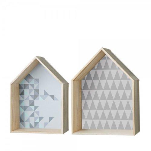 Bloomingville Holzhaus im 2er Set mit Print grau von Bloomingville