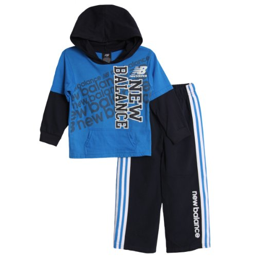 New Balance Little Boys' 2 Piece Drop Down Hoodie And Pant Set, Navy, 3T front-984056