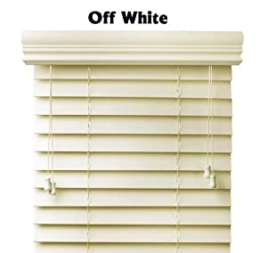 Premium 2 inch faux wood blinds, Pearl White, 44 x 73