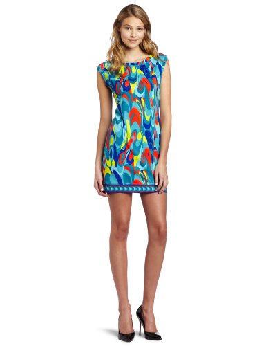 Trina Turk Women's Sleeveless Zinnia Waterbird Print Dress, Multi, Large