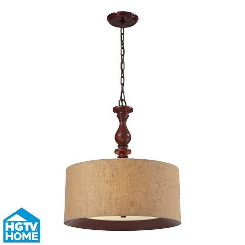 Elk Lighting 14141/3 HGTV Home Nathan 3-Light Pendant with Wood Shade, 20 by 23-Inch, Dark Walnut Finish
