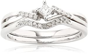 Sterling Silver Diamond Bridal Ring Set (0.2 Cttw, G-H Color, I2-I3 Clarity), Size 7
