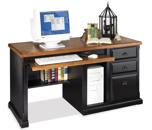 Distressed Black Computer Desk with Oak Top Kathy Ireland Southampton Onyx Collection by Kathy Irela