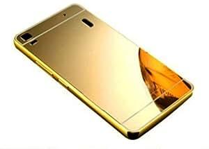 Novo Style Metal Bmper Frame Case with Acrylic Mirror Back Cover For lenovo A7000 - Golden