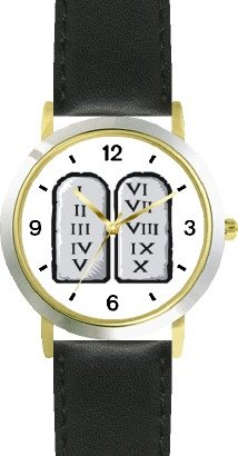 buy The 10 Ten Commandment Judaica Jewish Theme - Watchbuddy® Deluxe Two-Tone Theme Watch - Arabic Numbers - Black Leather Strap-Size-Large ( Men'S Size Or Jumbo Women'S Size )