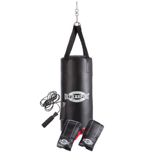 Ultrasport Set da Boxe. Serie Boxing Gear, per Giovani - Incl. Sacco da Boxe in Vinile Imbottito 70 X 30 cm, Guanti da Boxe 8 OZ e Corda