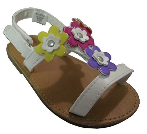 Rising Star White Sandals Colored Flowers Size 5T [3012]
