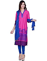 Rama Suit Set Pink Color Embroidered Kurti With Blue Legging And Dupatta
