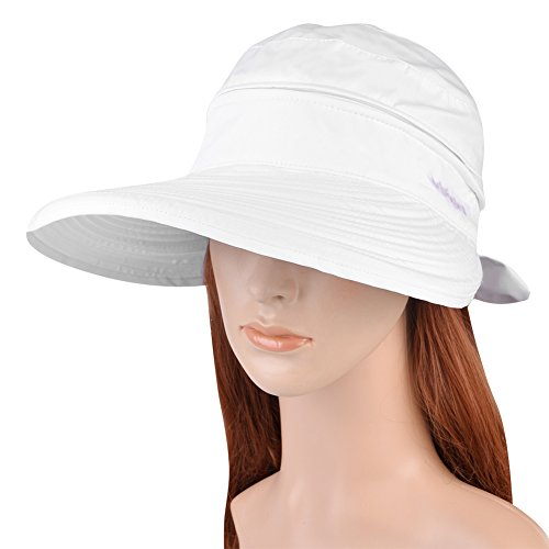 Vbiger Butterfly Knot Sun Wide Brim Visor Floppy Fold Beach Hat (White) (Sun Visor Butterflies compare prices)