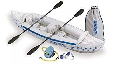 Sea Eagle SE330K_ST Inflatable Blue/White Kayak with Paddles