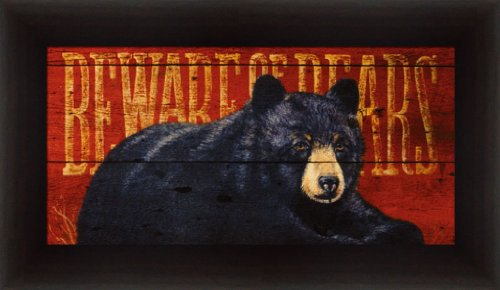 Observation by Penny Wagner Beware of Bears Sign 18.5x10.5 Framed Art Print Picture Wall Decor (Framed Bear Art compare prices)