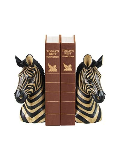 Pair of Zebra Bookends, Black/White