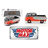 New 1:24 W/B MOTOR MAX COLLECTION - Brown/Orange Volkswagen Type 2 (T1) Pickup with Surfboard Diecast Model Car By MOTOR MAX