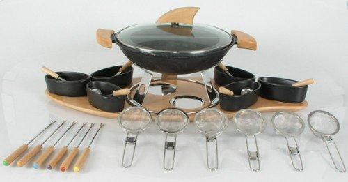 nouvel service fondue fon deux avec wok en fonte d 39. Black Bedroom Furniture Sets. Home Design Ideas