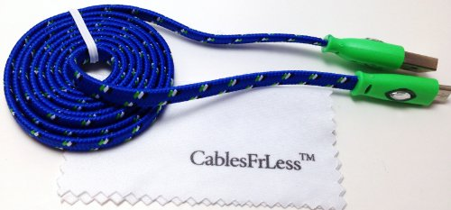 Cablesfrless 3Ft Color Changing Light Up High Quality Braided Noodle Micro Usb B Charging / Data Sync Cable Fits Most Android Devices (Blue)