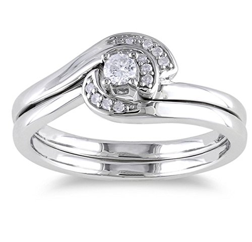 0.58 Carat Engagement Ring Sets Round Cut Diamond on 18K White gold