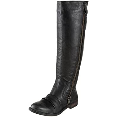 Steve Madden Women's Linderr Distressed Knee-High Boot,Black Leather,11 M US